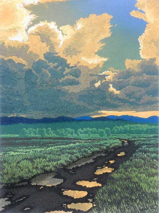 After The Storm, linocut print by William H. Hays
