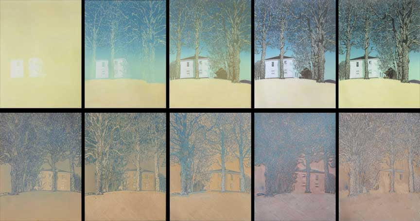 Halifax House print and block, impressions 1-5