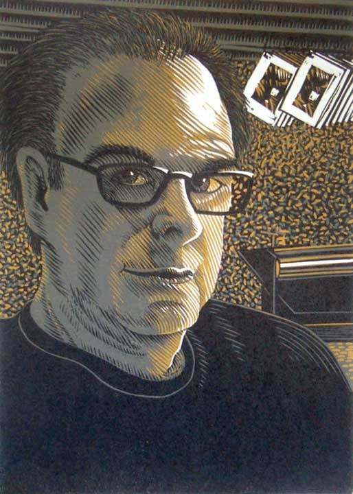 Self Portrait linocut print by William H. Hays