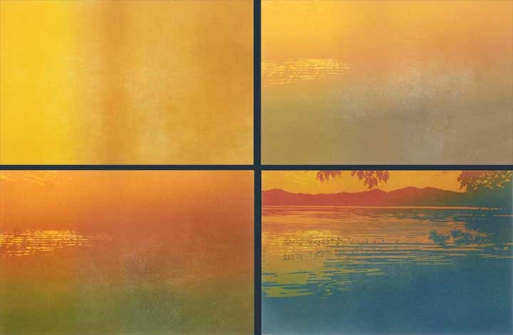 Skimming The Sunset impressions 1-4, linocut print by William H. Hays