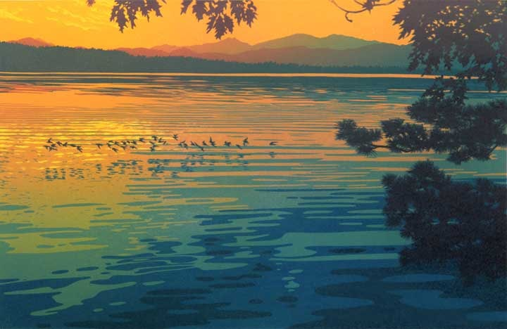 Skimming The Sunset, linocut print by William H. Hays