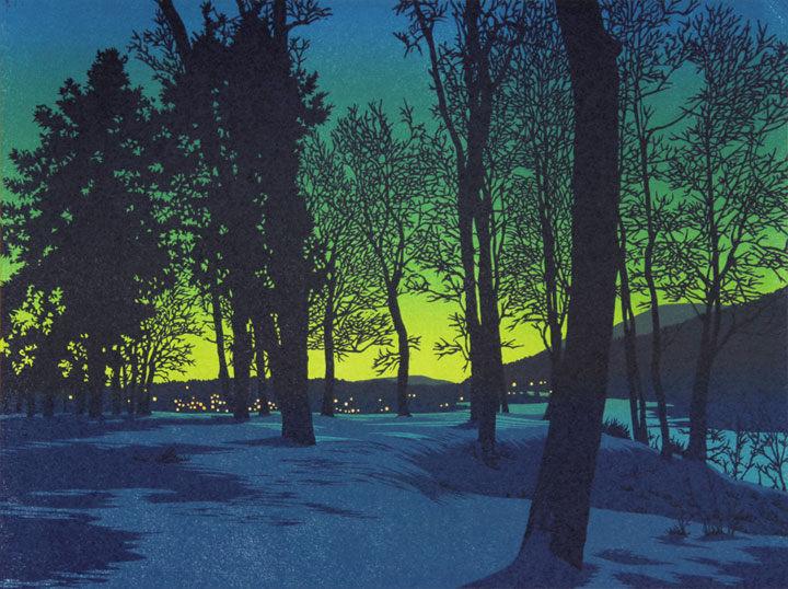 Twilight Village linocut print by William H. Hays