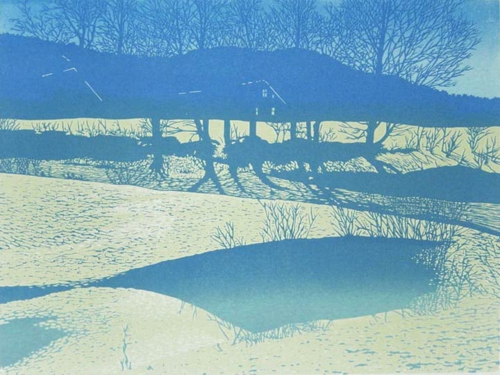 Jim's Farm impression 2, linocut print by William H. Hays