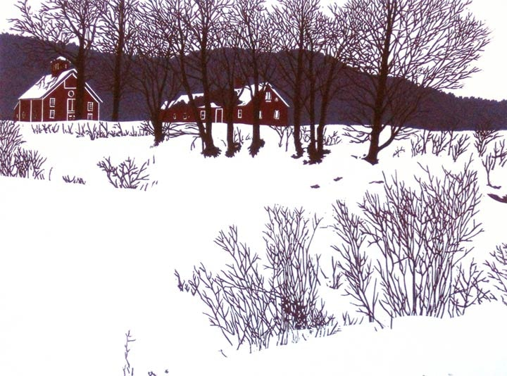 Jim's Farm II, linocut print by William H. Hays