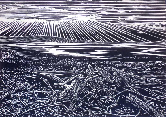Patricia's Sunset, linocut print by William H. Hays
