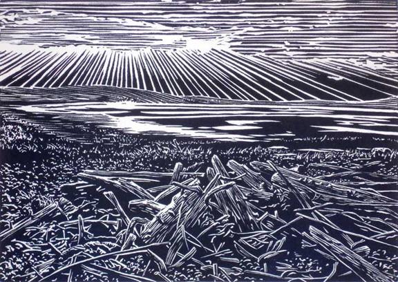 Patricia's Sunset, linocut print by William H. Hays