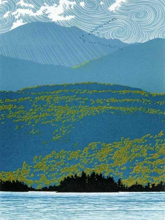 Migration, linocut print by William H. Hays