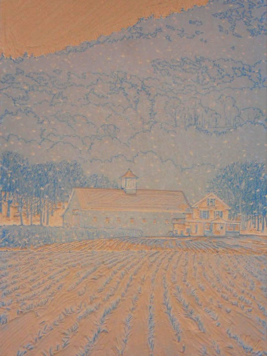 First Snow linoleum block 2, by William H. Hays