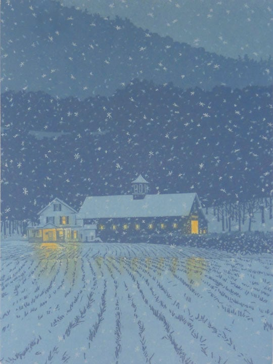 First Snow impression 6, linocut print by William H. Hays