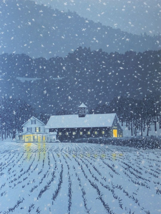 First Snow, linocut print by William H. Hays