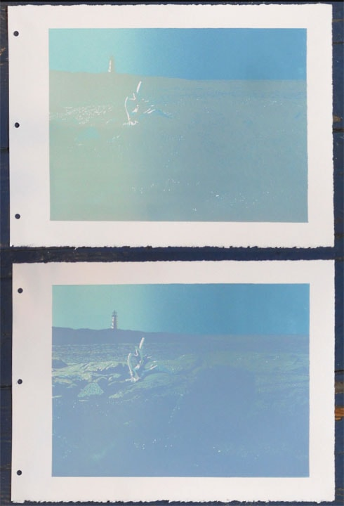 Daybreak, Peggys Cove impressions 2 and 3, linocut print by William H. Hays