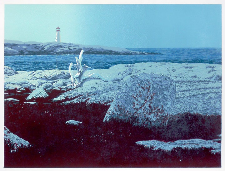 Daybreak, Peggys Cove, impression 7, linocut print by William H. Hays