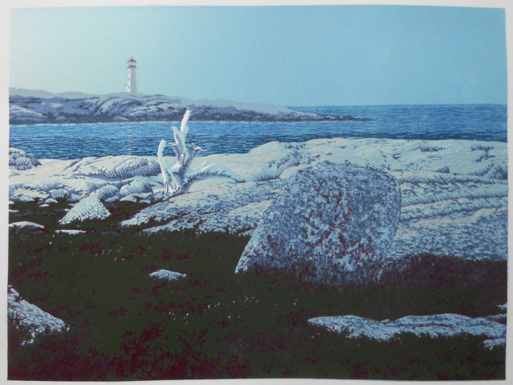 Daybreak, Peggys Cove, ninth impression, linocut print by William H. Hays