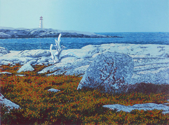 Daybreak, Peggys Cove, linocut print by William H. Hays