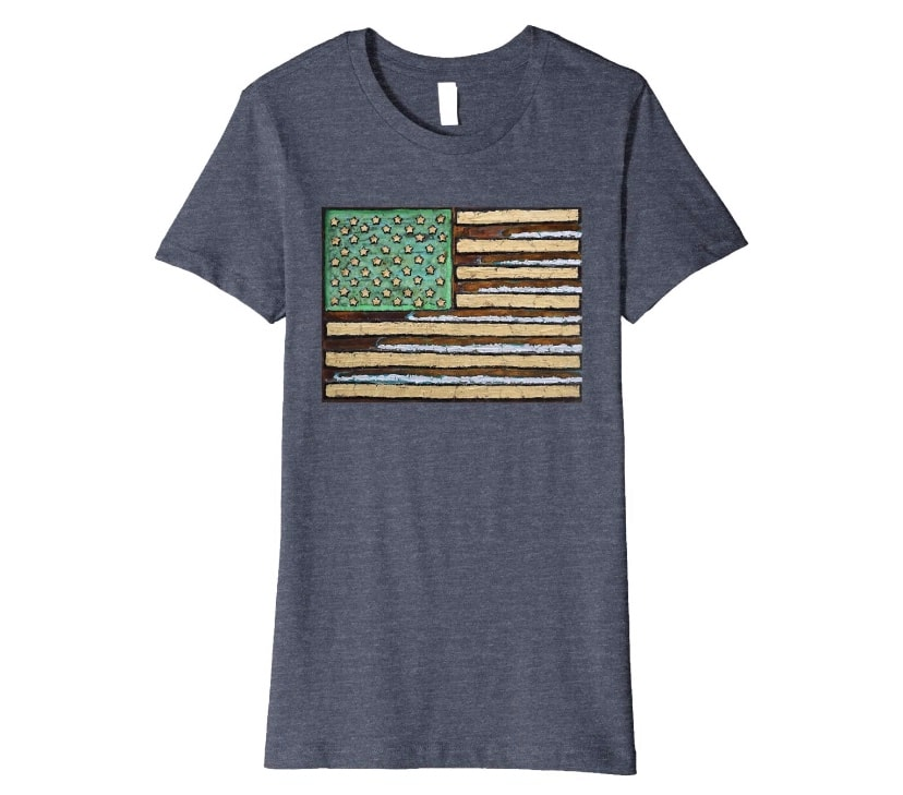 Women's Zepeda Rusty American Flag Painting T-Shirt Amazon