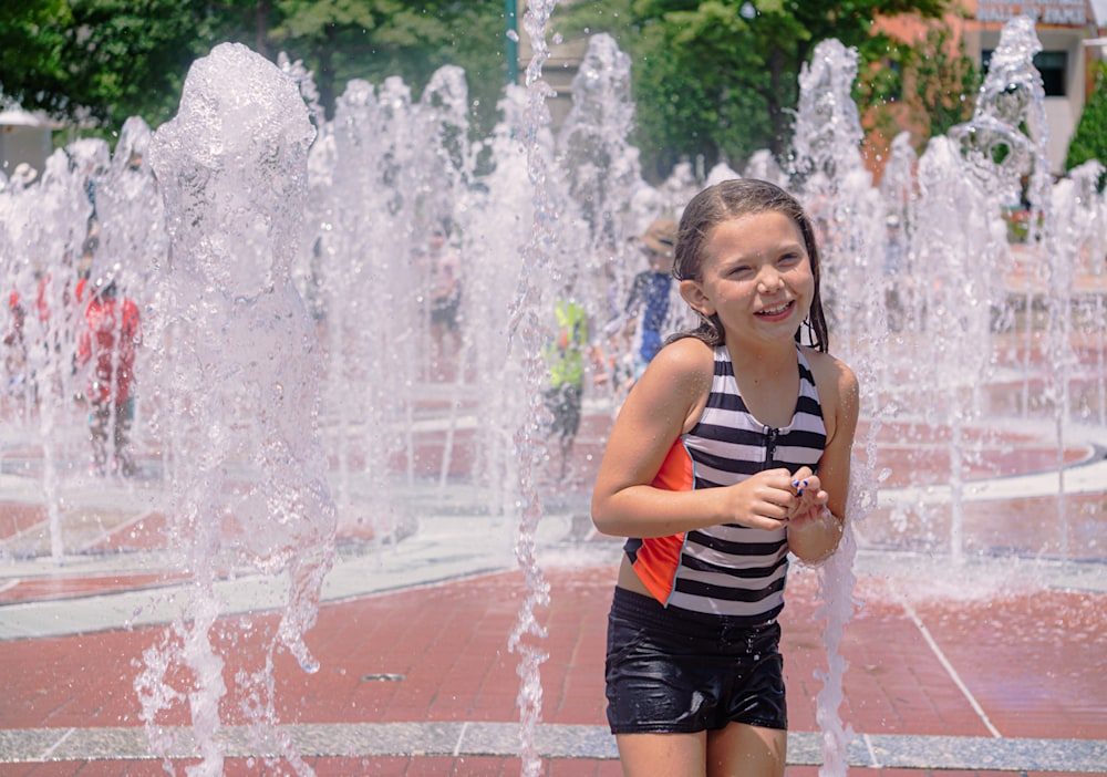 A photo of my niece playing in the fountain at Centennial Park in Atlanta