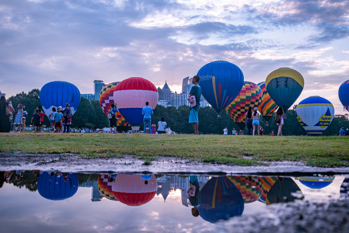 A bevy of hot-air balloons in Piedmont Park