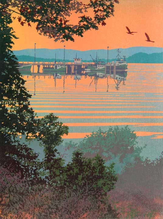 Back Bay, linocut print by William H. Hays