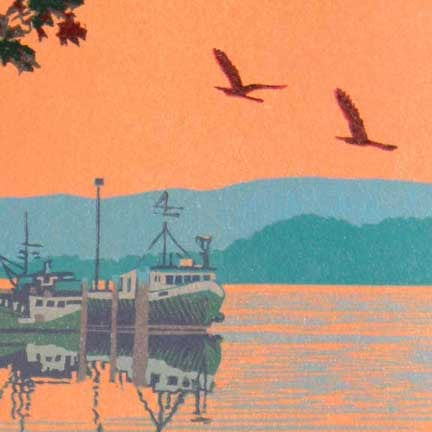 Back Bay (detail) linocut print by William H. Hays