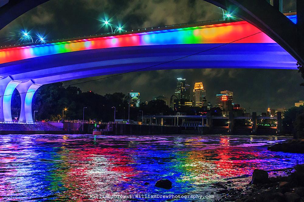 Rainbow Bridge over the Skyline - Downtown Minneapolis Skyline Prints | William Drew Photography