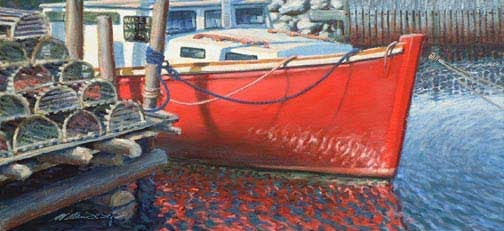 Red Boat With Lobster Pots, oil on canvas by William H. Hays