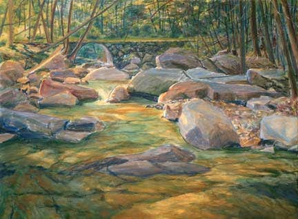 Stickneybrook Bridge, step two, oil on canvas by William H. Hays