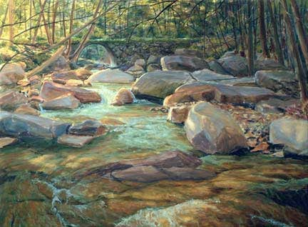 Stickneybrook Bridge, step three, oil on canvas by William H. Hays