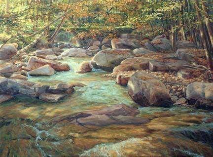 Stickneybrook Bridge, step four, oil on canvas by William H. Hays