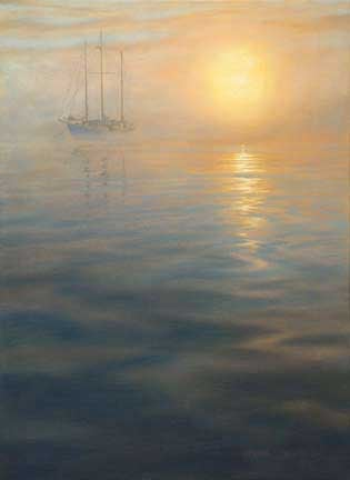 Sunset Mooring, oil on canvas by William H. Hays