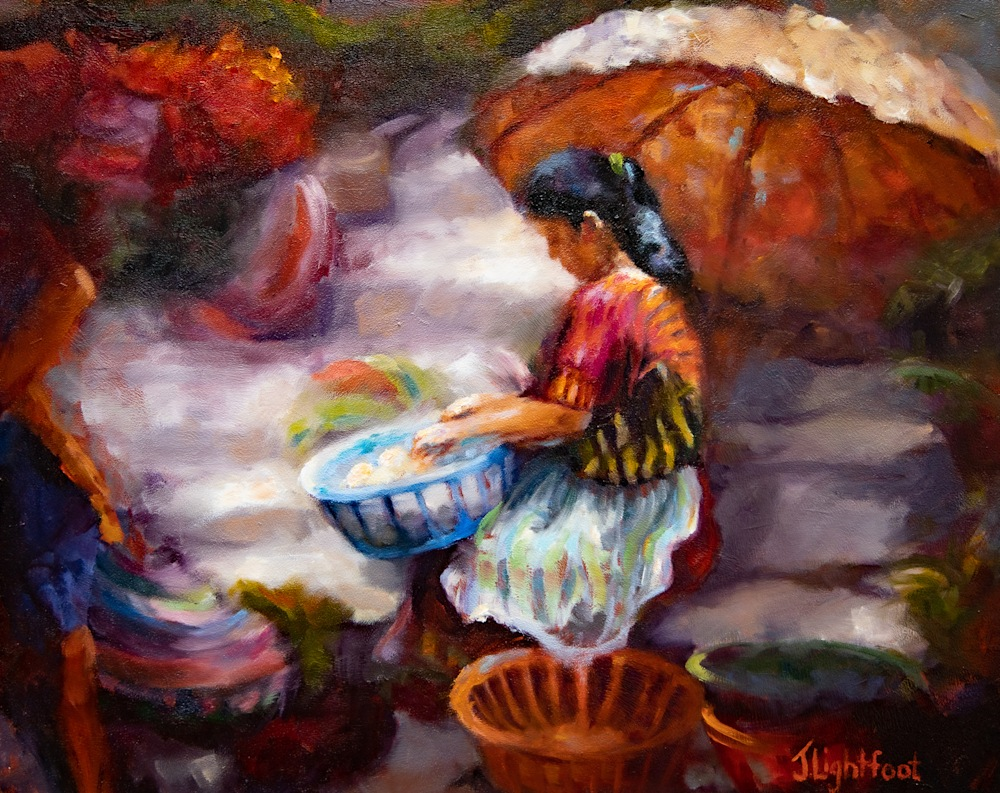 Oil Painting of Central American Market