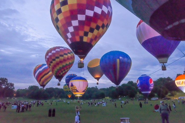 Hot-air balloons at Piedmont Park for the balloon glow 2019