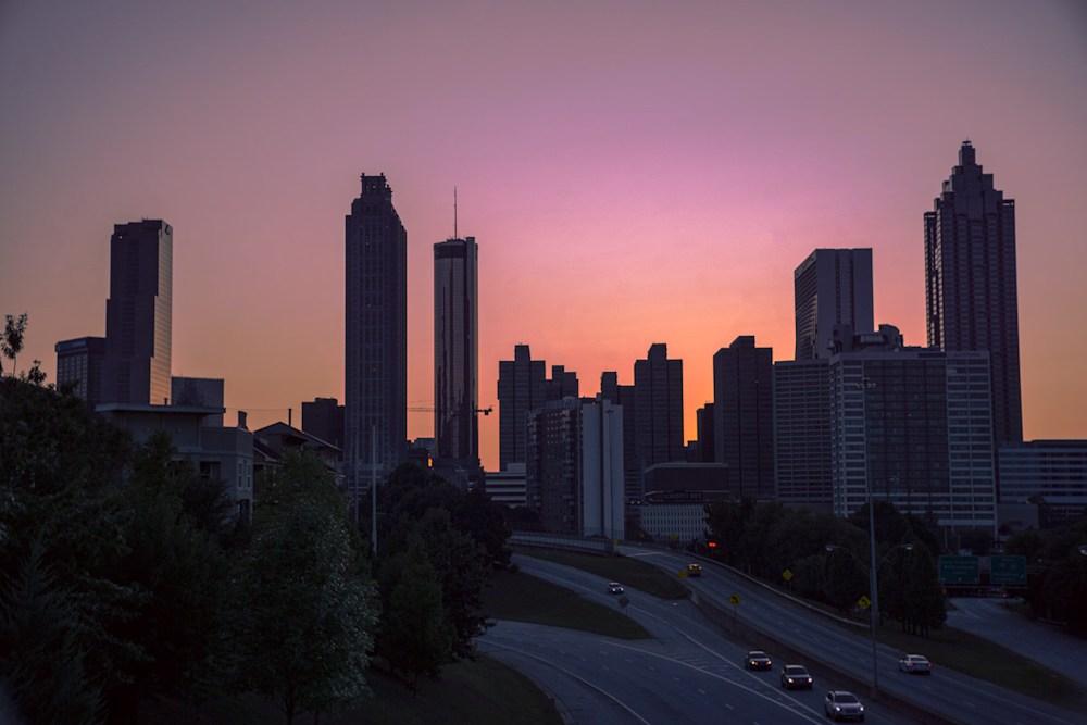 The skyline view of Atlanta from Jackson Street Bridge