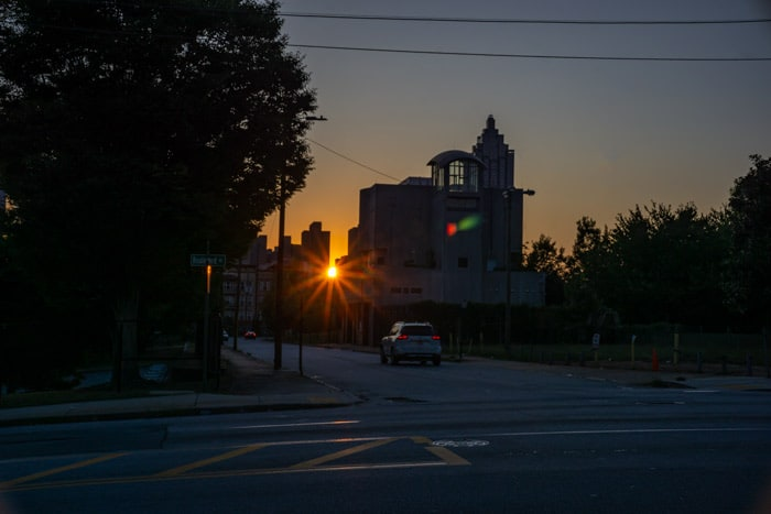 The corner of Boulevard and J.W. Dobbs right before sunset