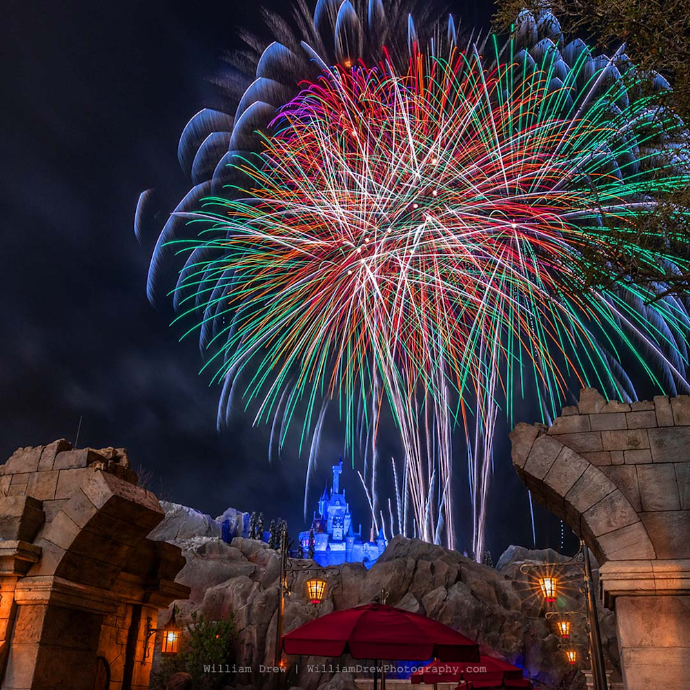 Beast's Castle Happily Ever After Fireworks 3 - Magic Kingdom Art | William Drew Photography