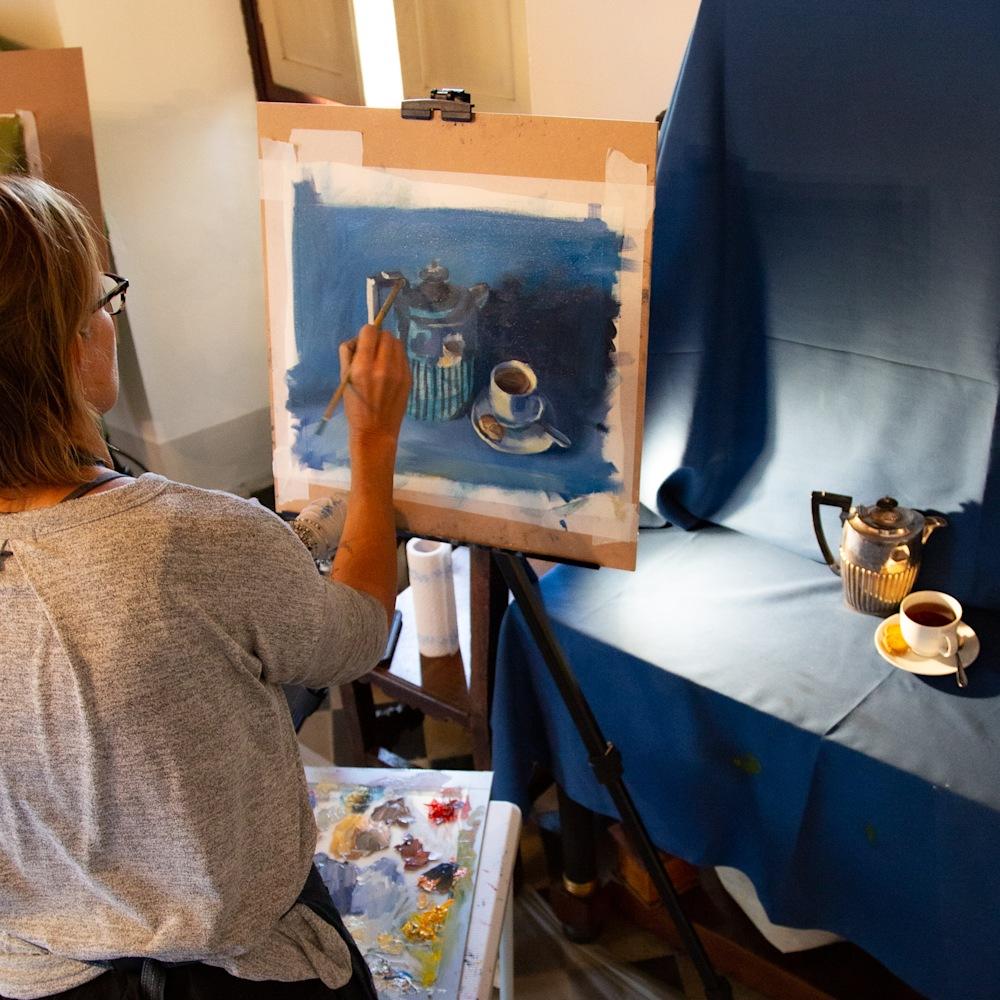 Jamie Lightfoot painting in Italy