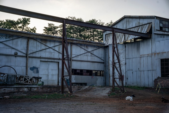 Before shot of the abandoned mill set from Stranger Things