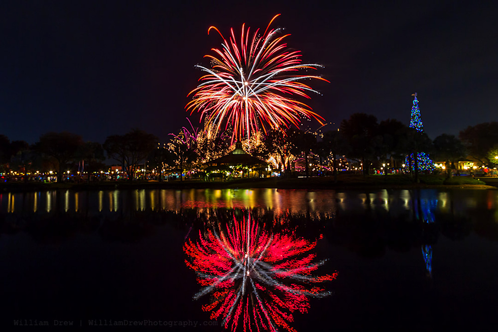 Christmas Illuminations Intro Fireworks - Disney Canvas Art | William Drew Photography