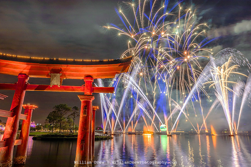 Epcot Torii and Fireworks - Disney Canvas | William Drew Photography