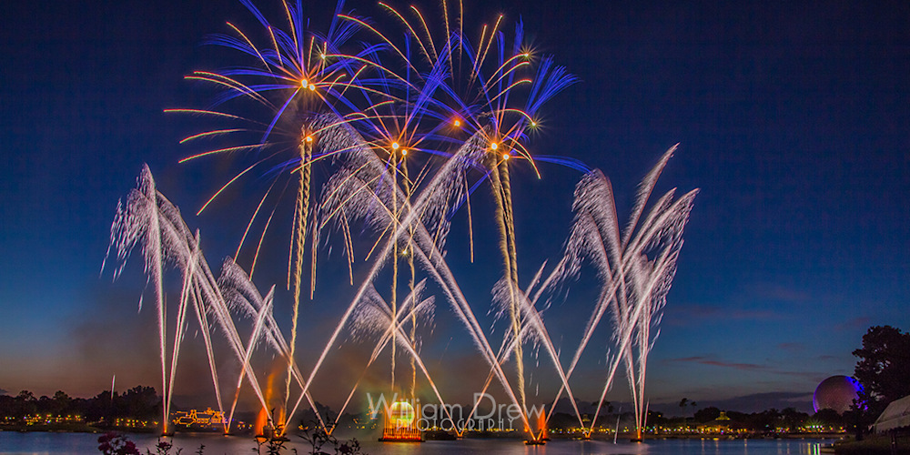Blue Sky Illuminations - Epcot Center Fireworks | William Drew Photography