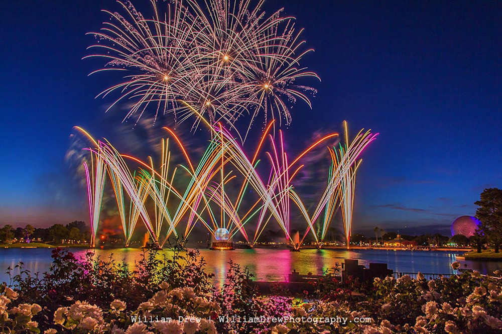 Illuminations Blue Hour - Epcot Center Fireworks | William Drew Photography