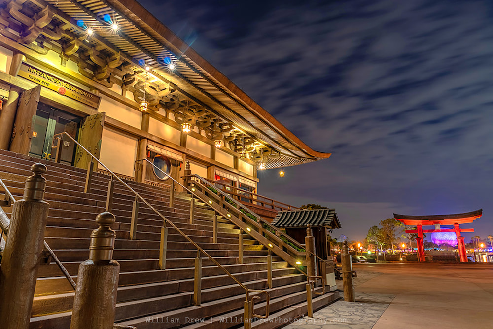 EPCOT Photograph of Japan and Spaceship Earth - Disney Art Gallery | William Drew Photography