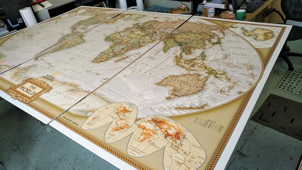 dry mounted world map on foam core