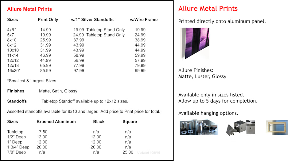 Allure Metal Pricing