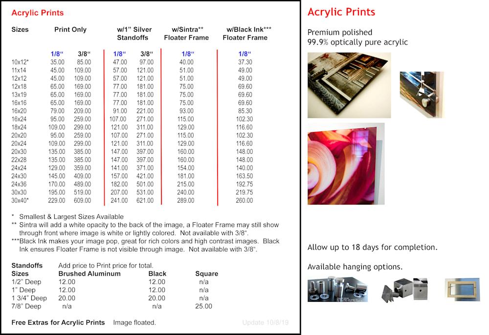 Acrylic Pricing