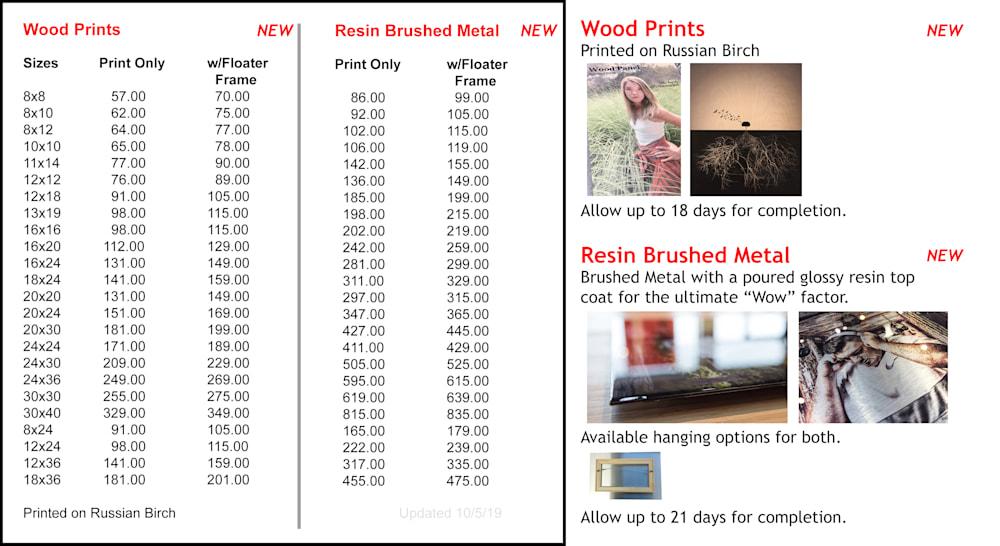 Wood & Resin Metal Pricing