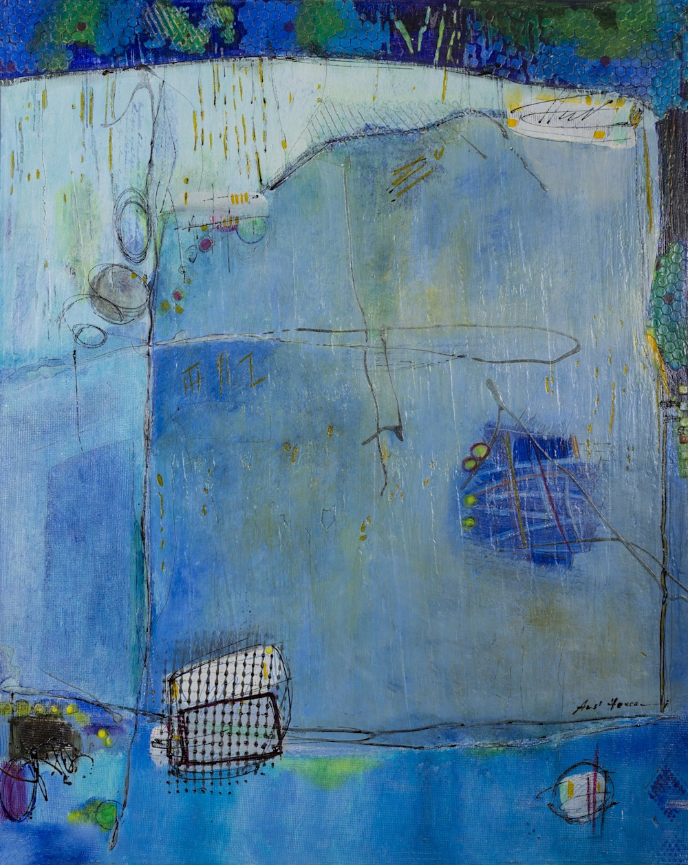 Blue abstract art titled Detached