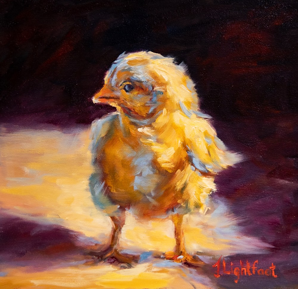 Oil Painting of Baby Chick by Jamie Lightfoot