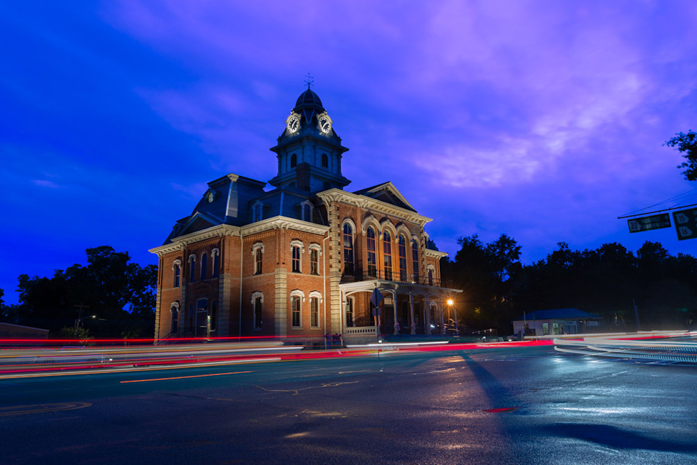 The Sparta, GA town hall at night