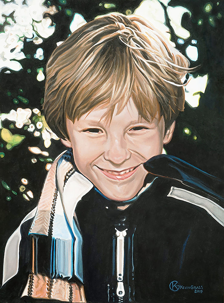 This is a portrait of the artist Kevin Grass's son Nicholas when he was a young boy.