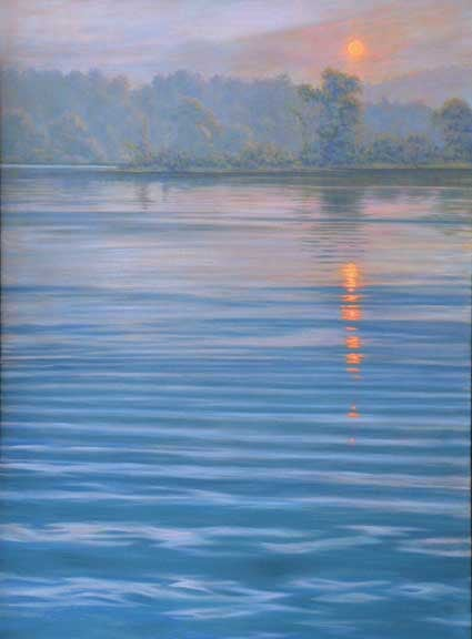 West River Sunset IV, oil on canvas by William H. Hays